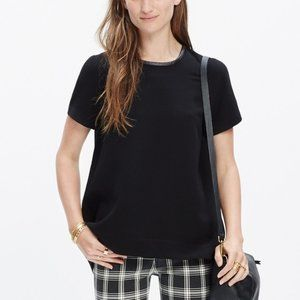 Madewell Black Leather-trim Tailored High Low Tee